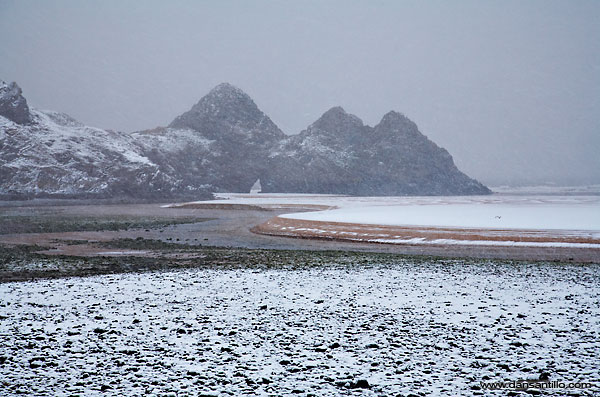 Three Cliffs Bay in the snow