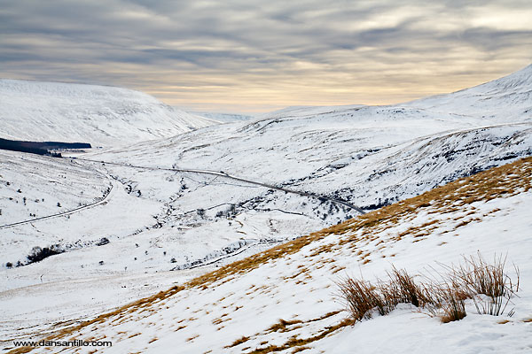 View from Craig Cerrig-gleisiad up the A470 in the Brecon Beacons