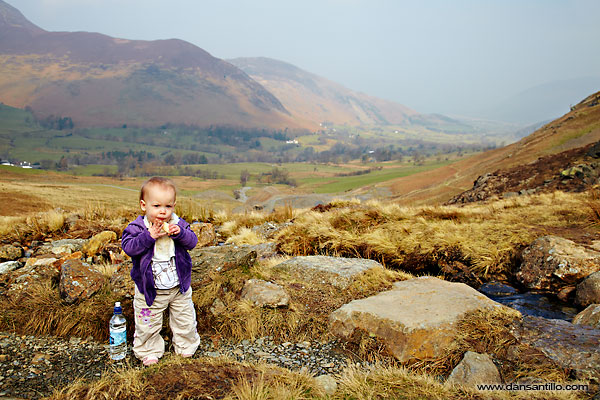 Willow having a banana break on way to High Spy (Canon EOS 5D Mark II)