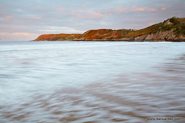 Caswell Bay just as the sun rose (Canon EOS 5D Mark II)