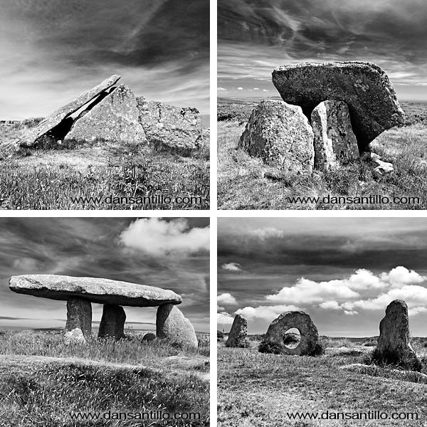 TL: Zennor Quoit; TR: Mulfra Quoit; BL: Lanyon Quoit; BR: Men an Tol