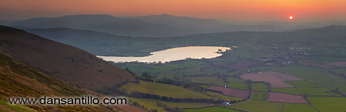 Pen y Fan and Llangorse Lake from Mynydd Llangorse