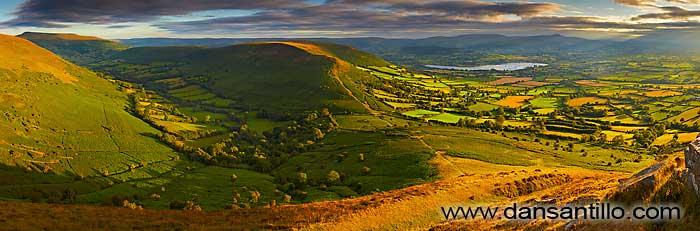 Pen Allt-mawr, Cwm Sorgwm, Mynydd Llangorse, Llangorse Lake and Pen y Fan from Mynydd Troed