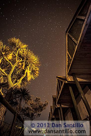 Langland Bay Beach Huts at night