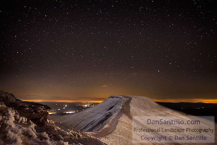 Pen y Fan from Corn Du at Night