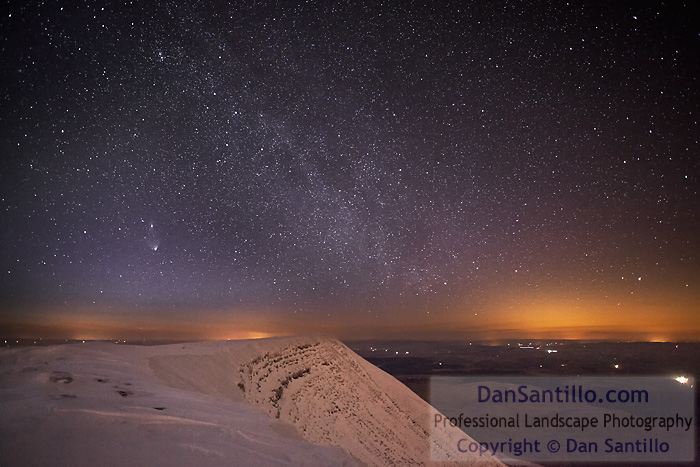 Fan Brycheiniog with the Milky Way, PANSTARRS Comet, Andromeda Galaxy, Cepheus, Cassiopeia and Vega