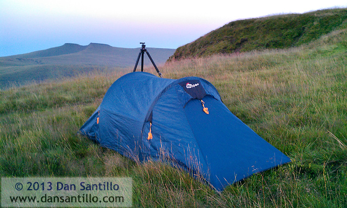 My tent on location last night