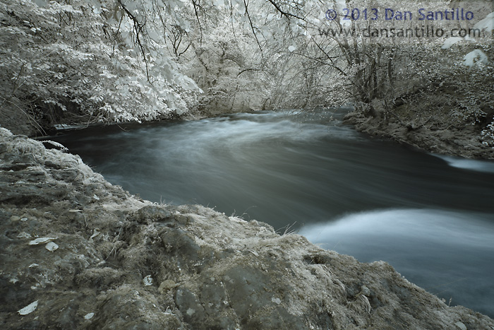 Afon Pyrddin in Infrared 'false colour', Brecon Beacons National Park