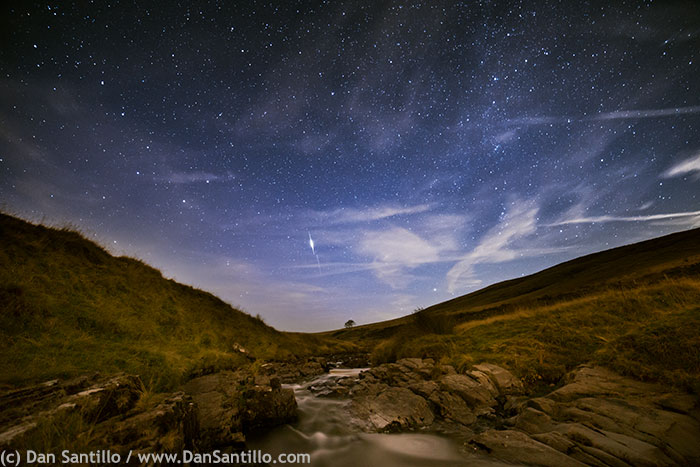 The River Tawe with an Iridium Satellite Flare