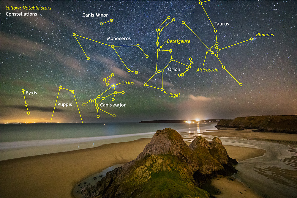 Three Cliffs Bay with Sirius and Airglow