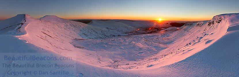 Corn Du, Pen y Fan, Cribyn and Fan y Big at sunrise