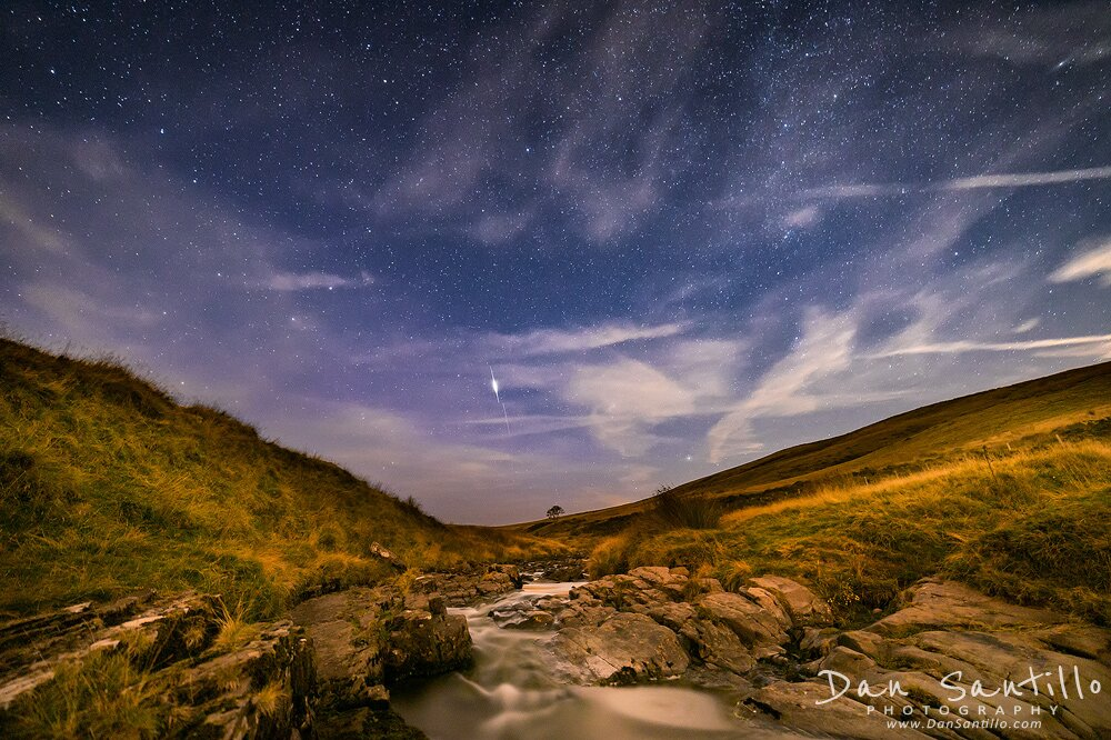 Afon Tawe with an Iridium Flare in the centre