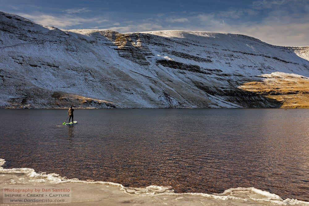 Paddleboarder on Llyn y Fan Fawr