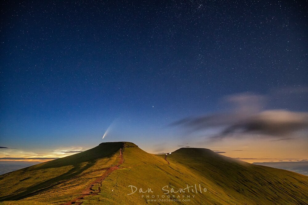 Corn Du and Pen y Fan with Comet NEOWISE and Noctilucent Cloud
