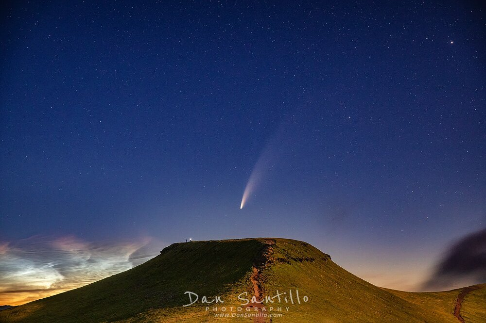 Corn Du with Comet NEOWISE and Noctilucent Cloud