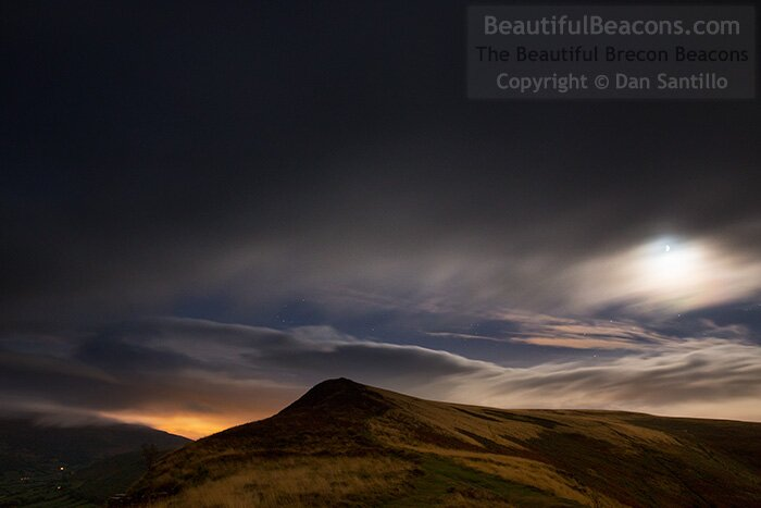 Mynydd Llangorse with the Moon