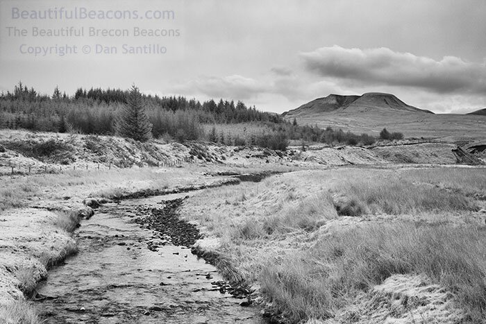 Picws Du, Fan Foel and Fan Brycheiniog from the River Usk