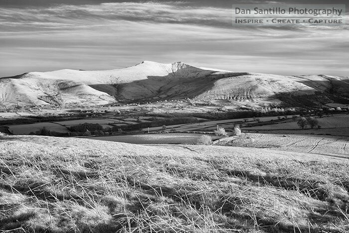 Pen y Fan and Corn Du from Mynydd Illtud in Infrared
