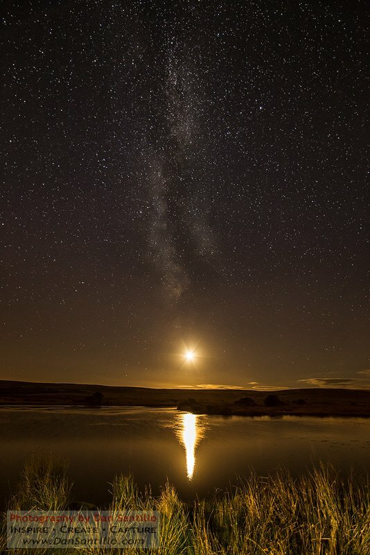 Broad Pool with the Moon and the Milky Way