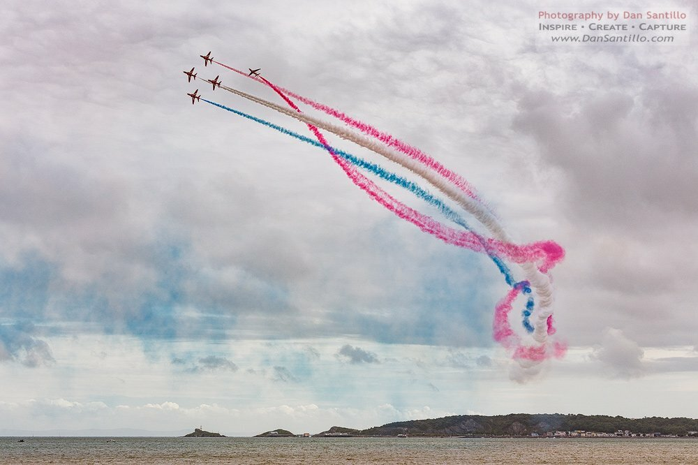 Mumbles Lighthouse with the Red Arrows, Swansea Airshow