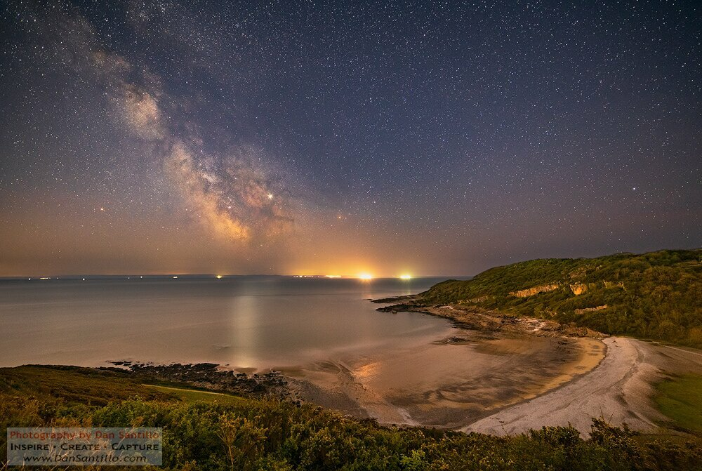 Pwlldu Bay with the Milky Way, Jupiter and Saturn