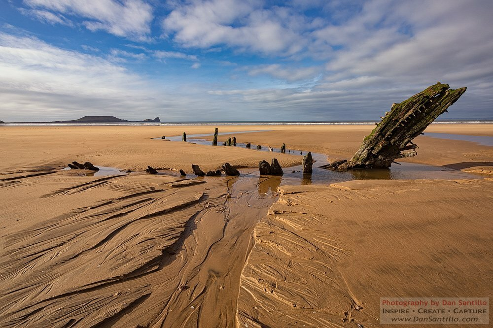 The Helvetia Wreck and Worms Head, Rhossili Bay