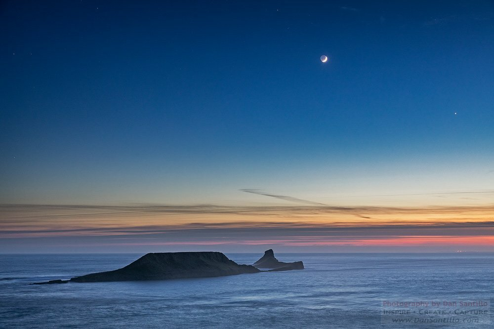 Worms Head with the Moon and Venus, Rhossili Bay
