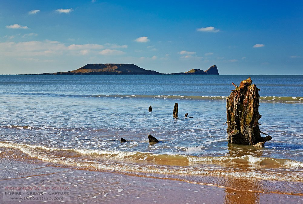 Helvetia Wreck and Worms Head, Rhossili Bay