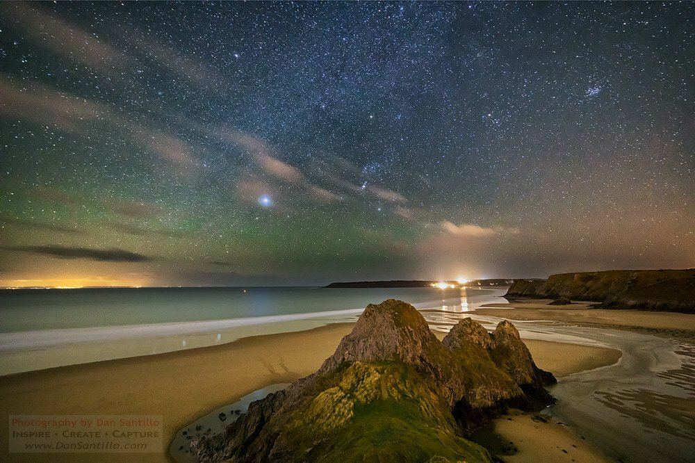 Three Cliffs Bay with Sirius and Airglow in the Sky