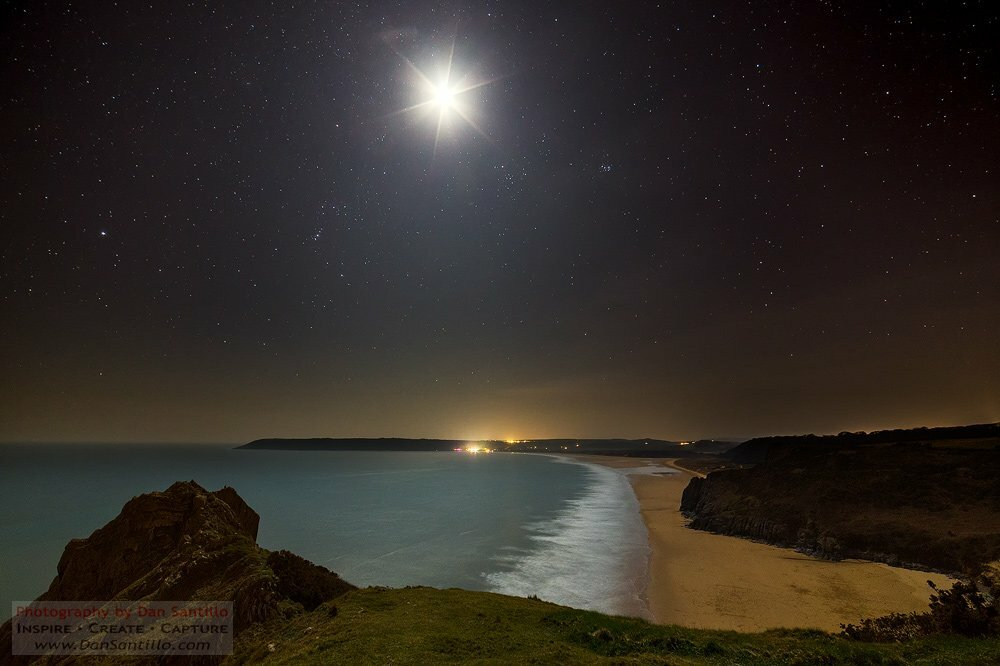 Tor Bay and Oxwich Bay at Night
