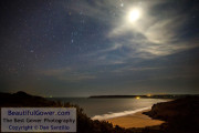 Orion, the Moon, Tor Bay and Oxwich Bay