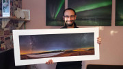 Me with the 100x40cm photo printed out