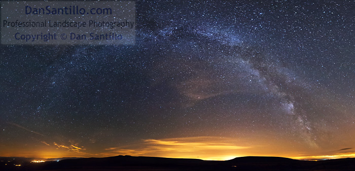 Brecon, Pen y Fan, Corn Du and Fan Fawr with the Milky Way from Craig Cerrig-gleisiad
